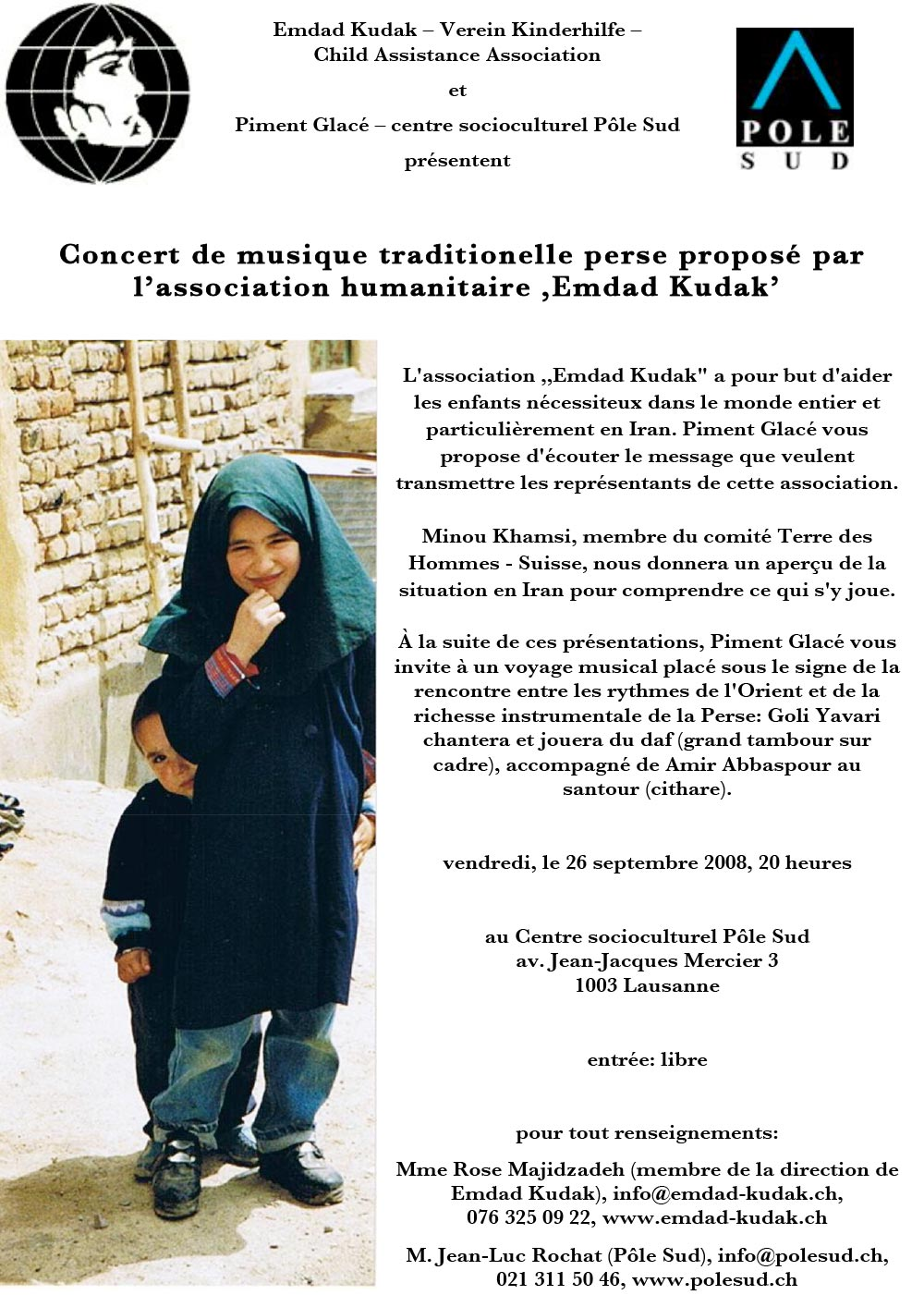 Concert de musique traditional perse propose par l'association humanitair Emdad Kudak